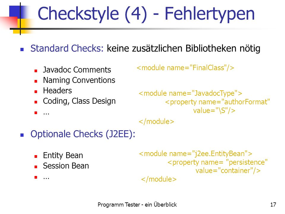 Checkstyle (4) - Fehlertypen
