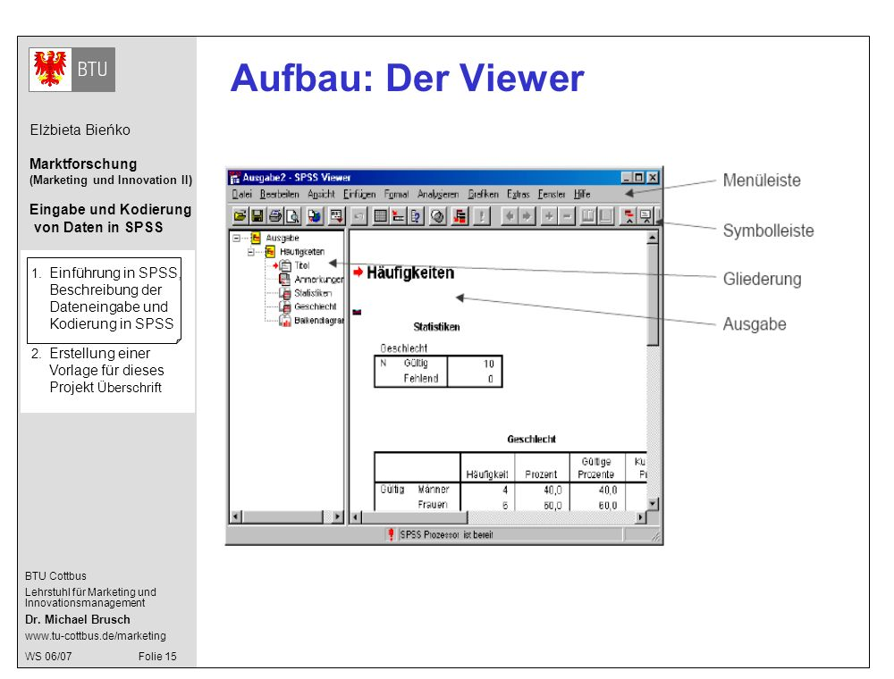 Aufbau: Der Viewer 1. Einführung in SPSS, Beschreibung der Dateneingabe und Kodierung in SPSS.