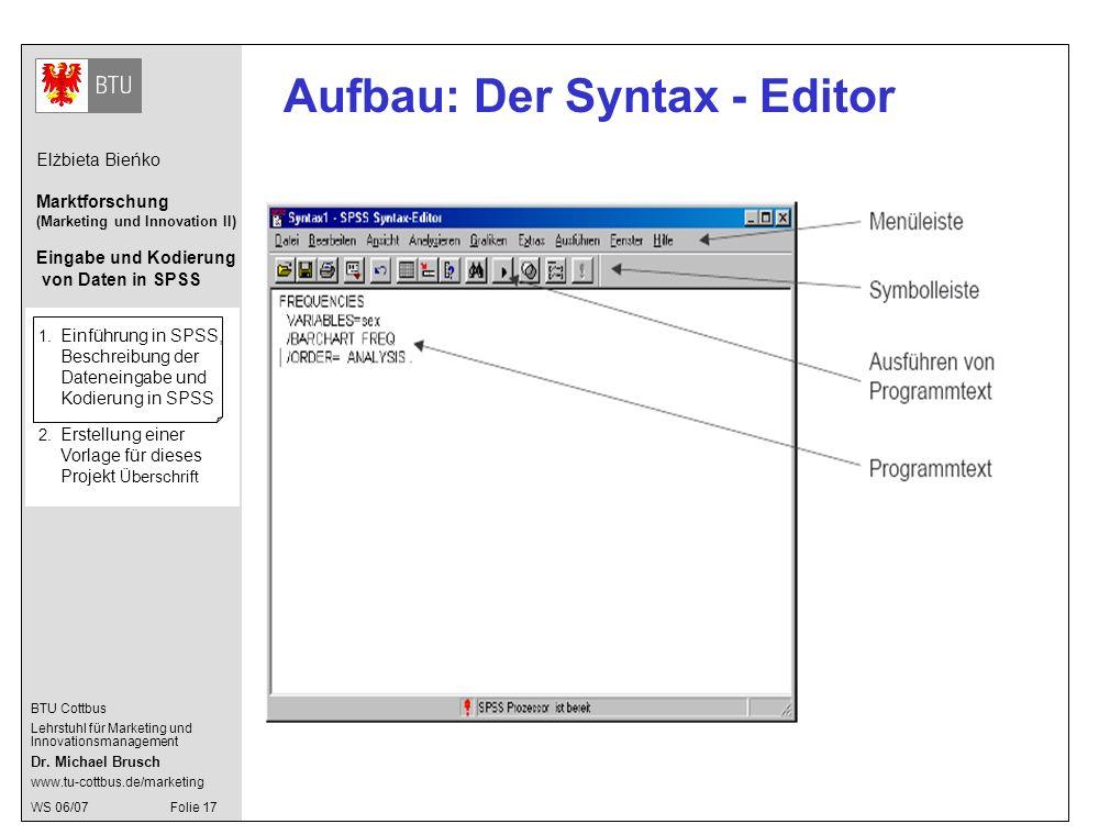 Aufbau: Der Syntax - Editor