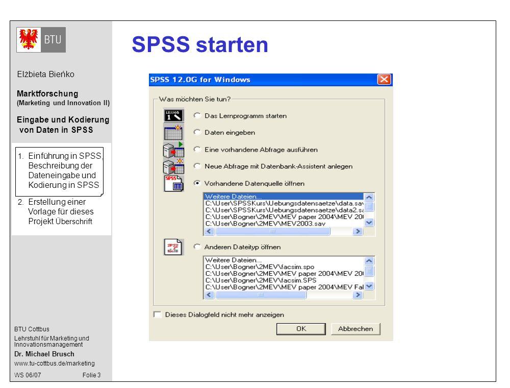 SPSS starten 1. Einführung in SPSS, Beschreibung der Dateneingabe und Kodierung in SPSS.