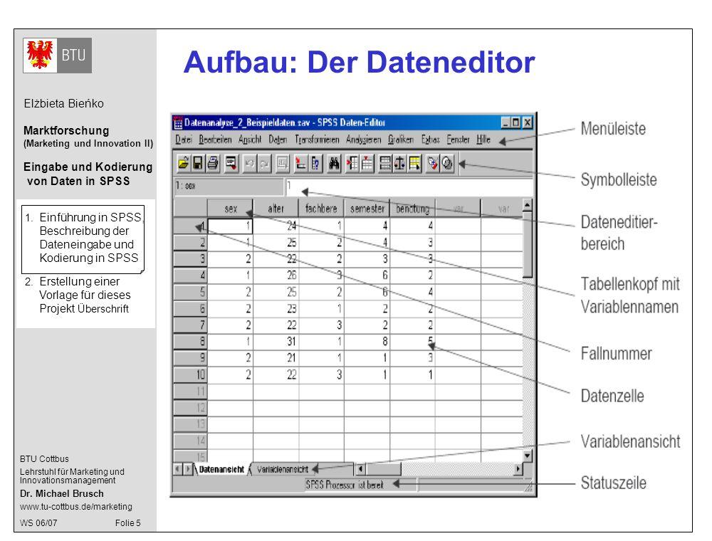 Aufbau: Der Dateneditor