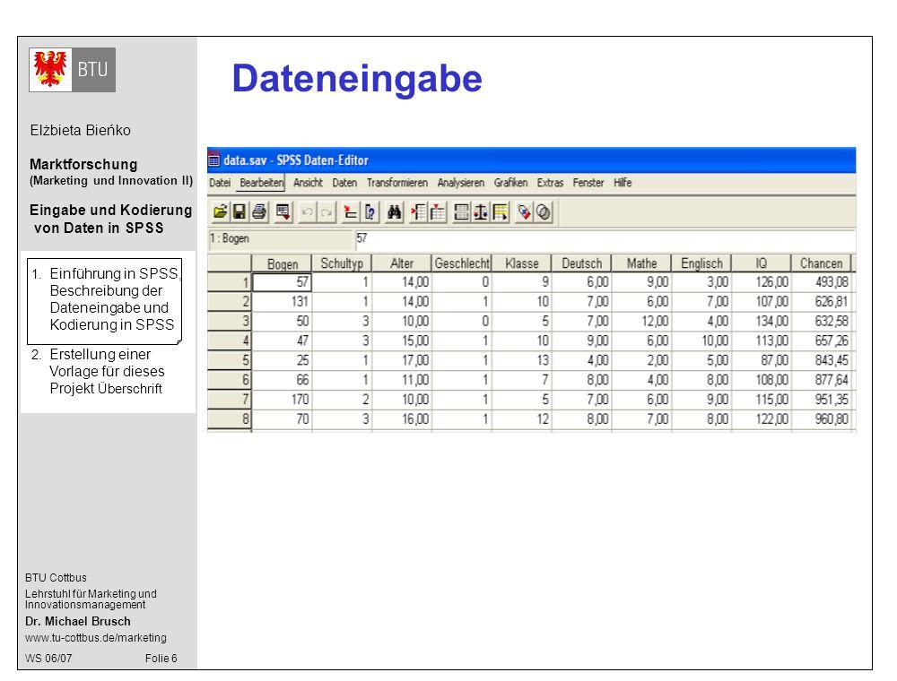 Dateneingabe 1. Einführung in SPSS, Beschreibung der Dateneingabe und Kodierung in SPSS.
