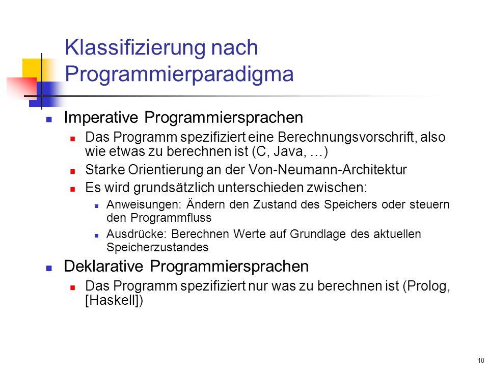 Klassifizierung nach Programmierparadigma