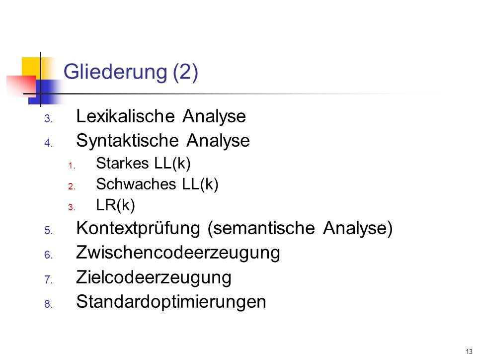 Gliederung (2) Lexikalische Analyse Syntaktische Analyse