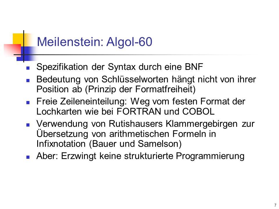 Meilenstein: Algol-60 Spezifikation der Syntax durch eine BNF