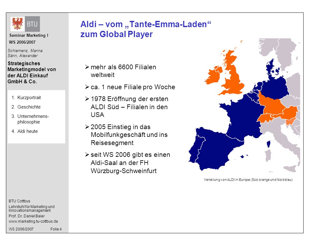"Aldi – vom ""Tante-Emma-Laden zum Global Player"