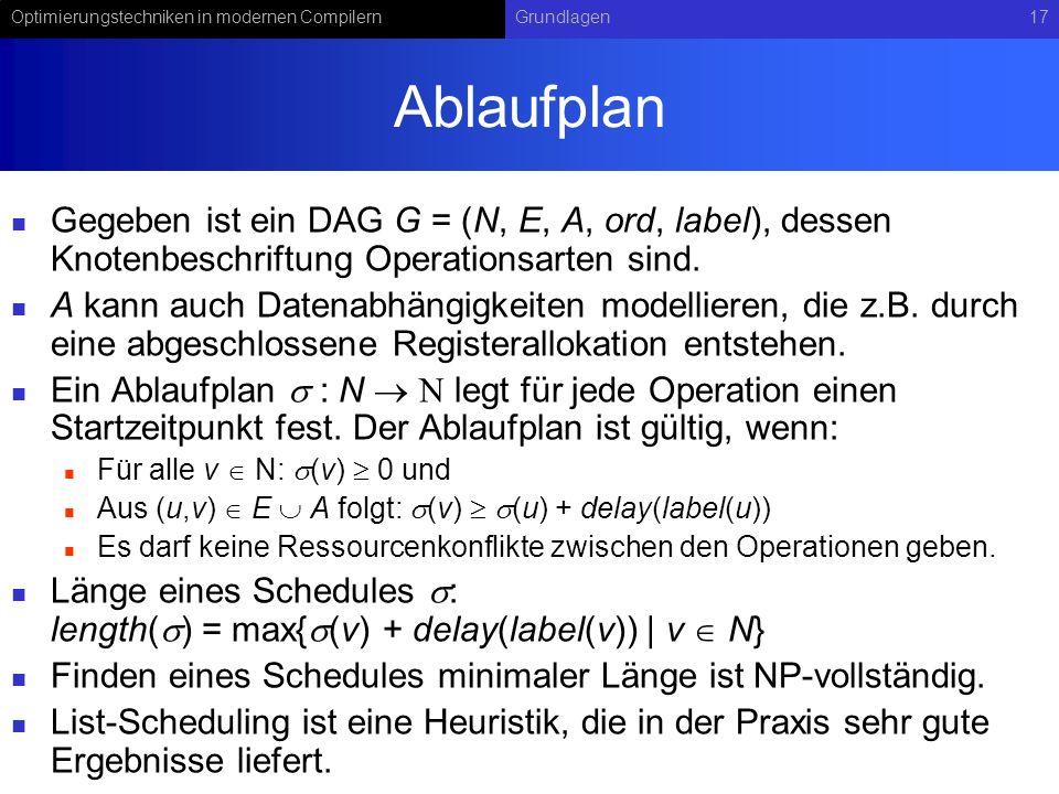 Ablaufplan Gegeben ist ein DAG G = (N, E, A, ord, label), dessen Knotenbeschriftung Operationsarten sind.