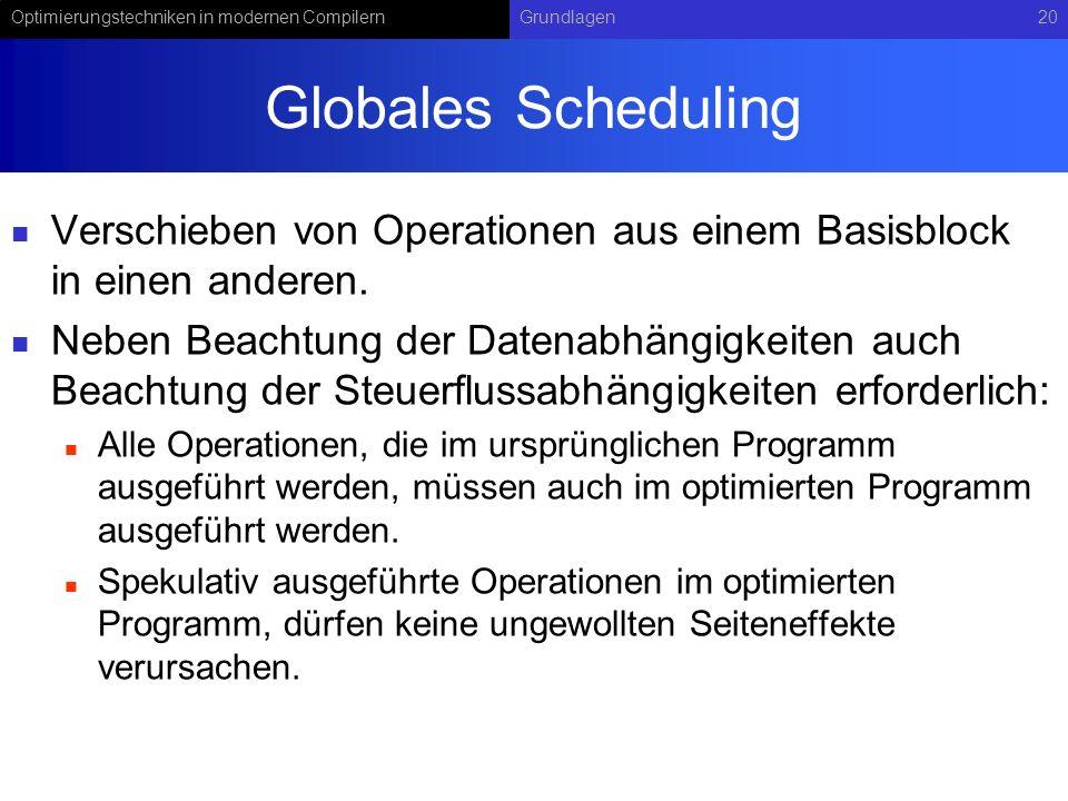 Globales Scheduling Verschieben von Operationen aus einem Basisblock in einen anderen.