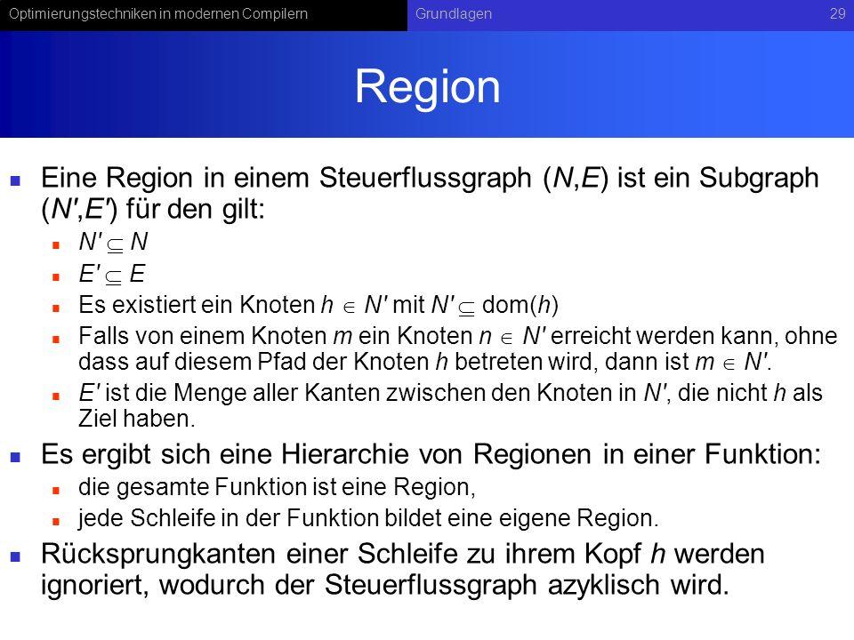 Region Eine Region in einem Steuerflussgraph (N,E) ist ein Subgraph (N ,E ) für den gilt: N  N. E  E.