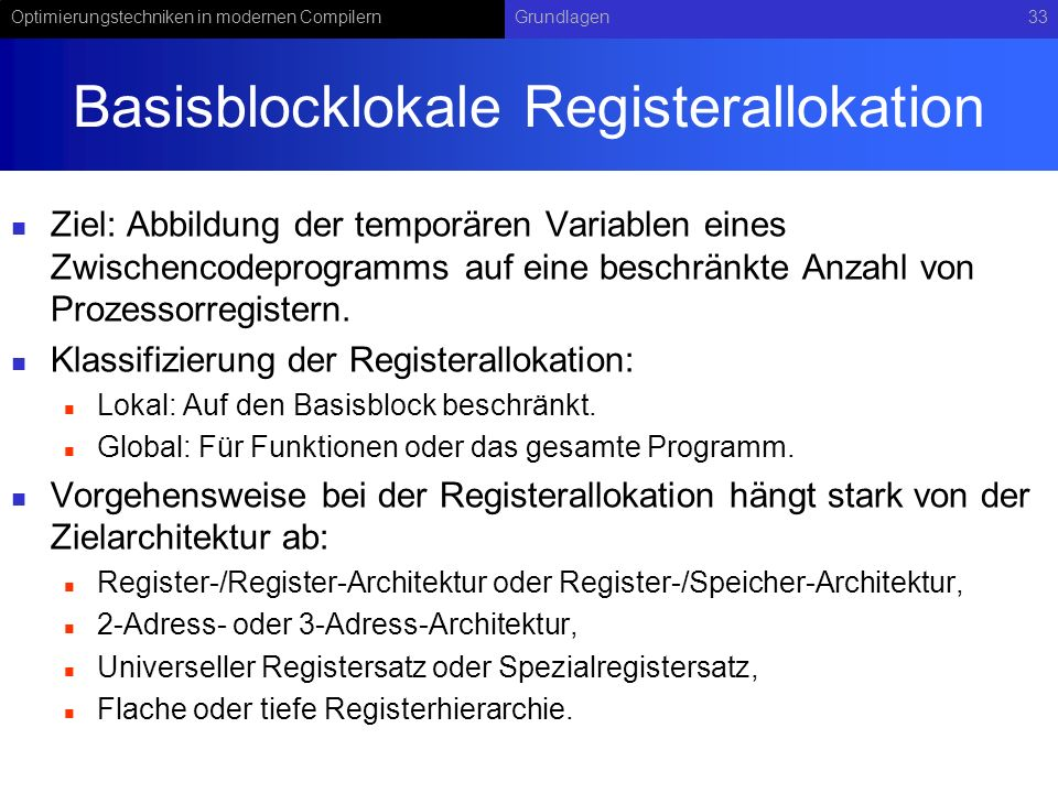 Basisblocklokale Registerallokation