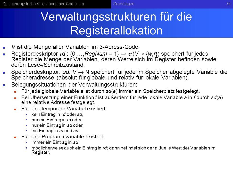 Verwaltungsstrukturen für die Registerallokation