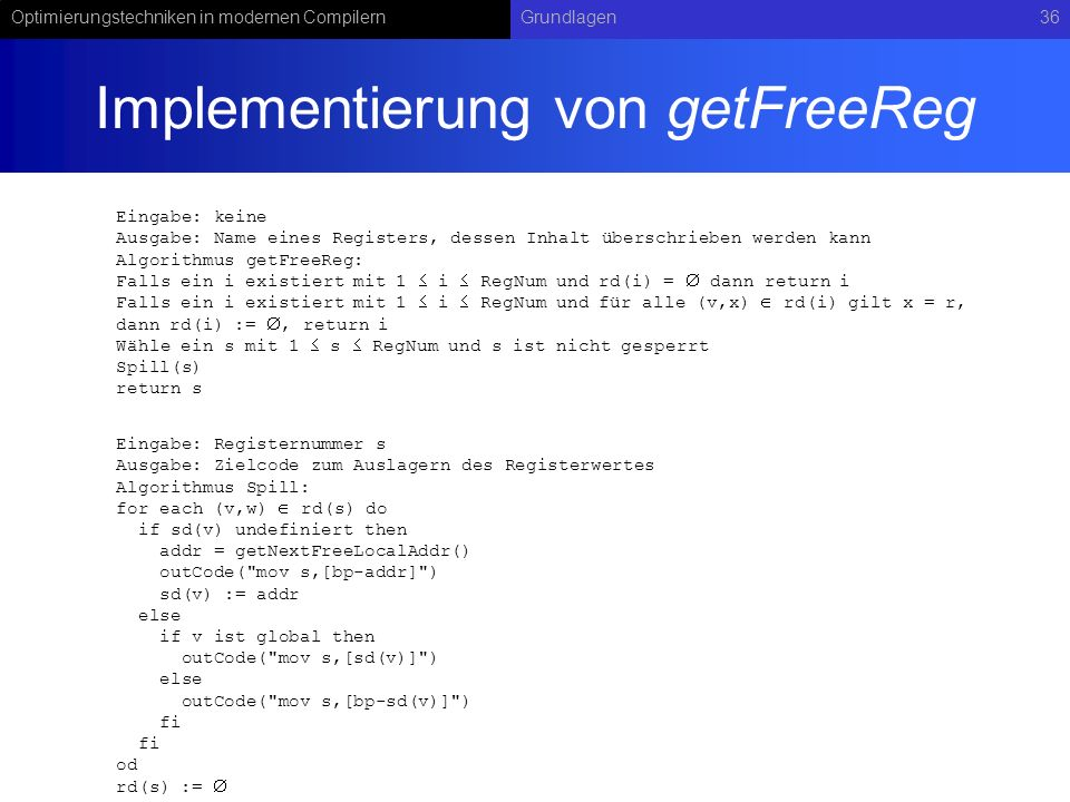 Implementierung von getFreeReg