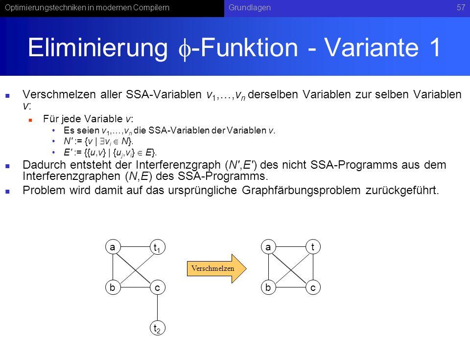 Eliminierung -Funktion - Variante 1