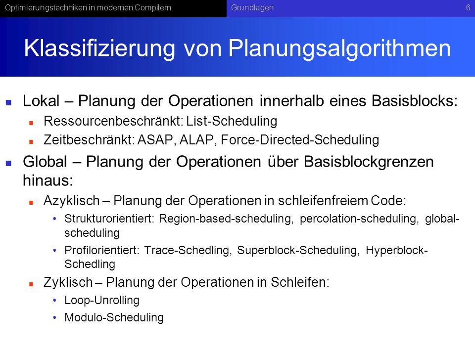 Klassifizierung von Planungsalgorithmen