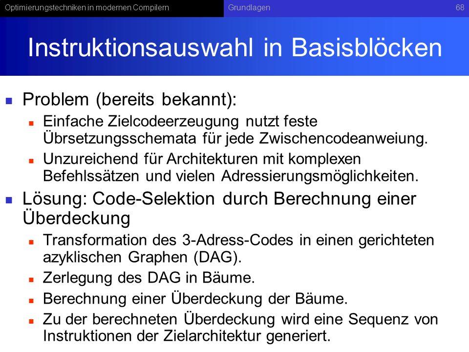 Instruktionsauswahl in Basisblöcken