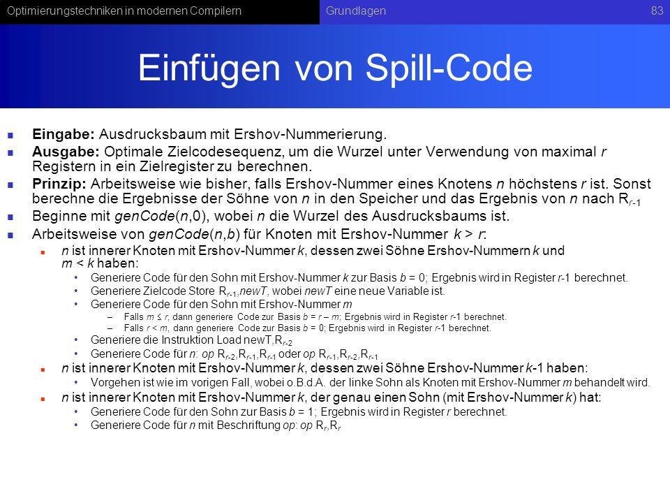 Einfügen von Spill-Code
