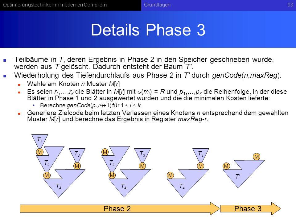 Details Phase 3 Teilbäume in T, deren Ergebnis in Phase 2 in den Speicher geschrieben wurde, werden aus T gelöscht. Dadurch entsteht der Baum T .