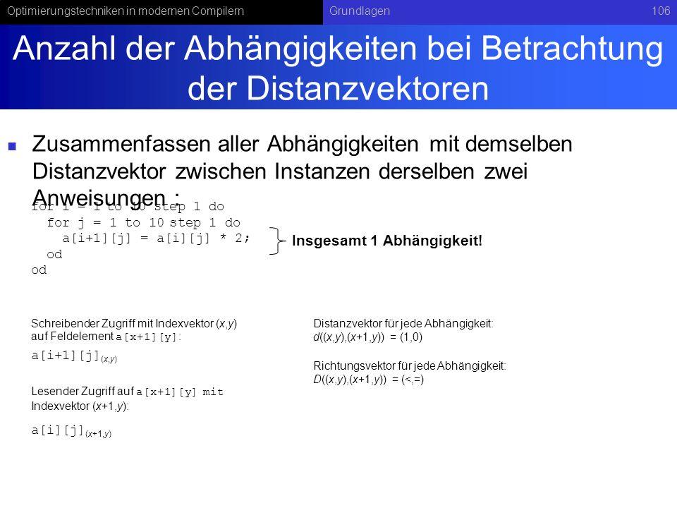 Anzahl der Abhängigkeiten bei Betrachtung der Distanzvektoren