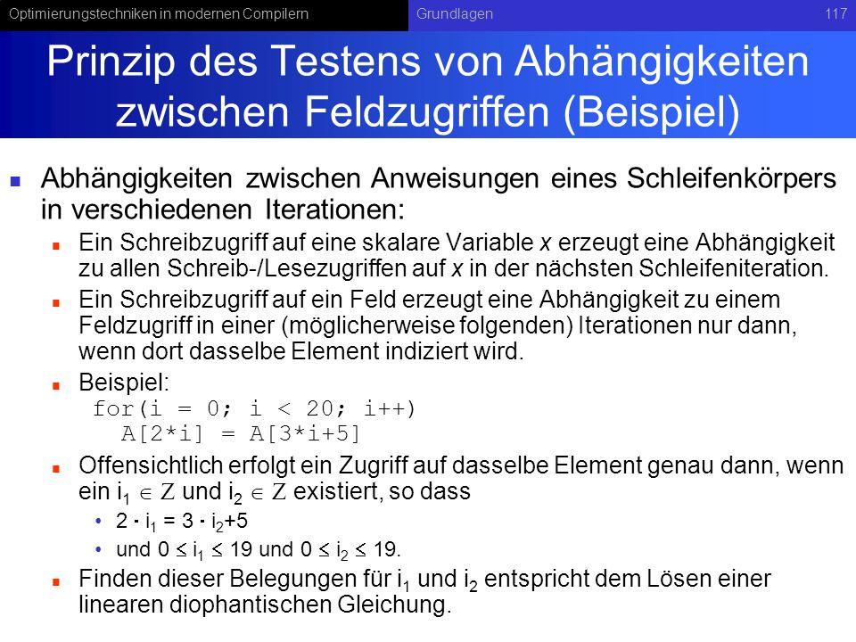 Prinzip des Testens von Abhängigkeiten zwischen Feldzugriffen (Beispiel)
