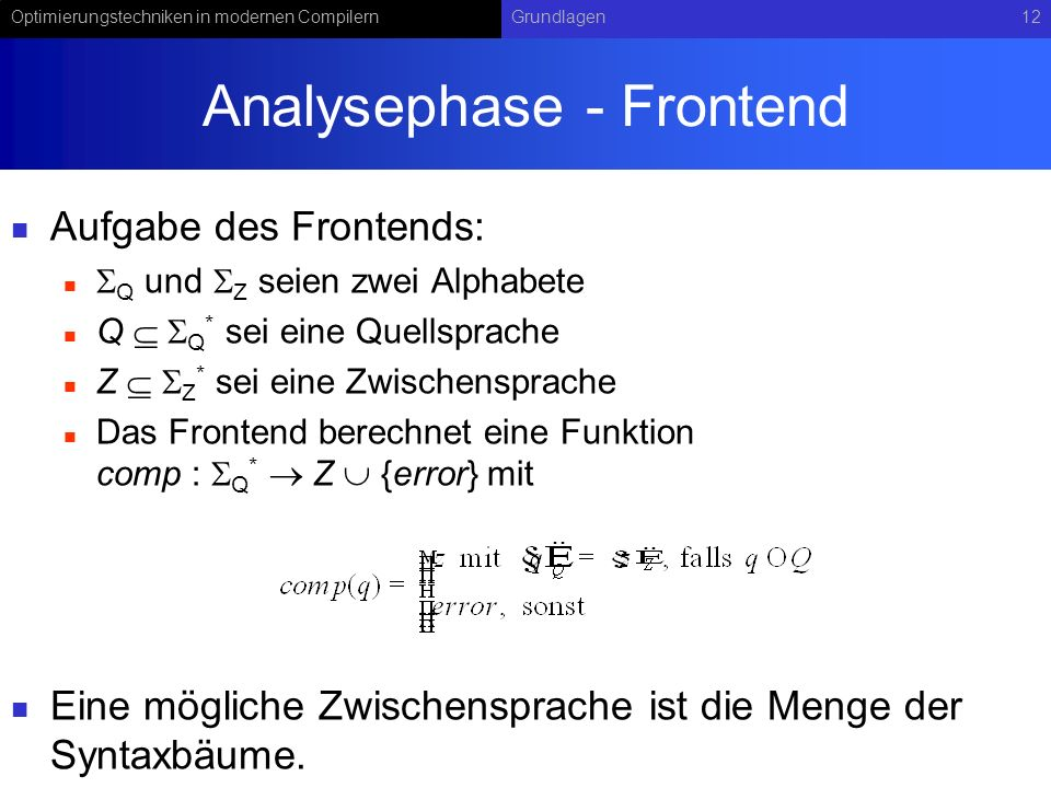 Analysephase - Frontend