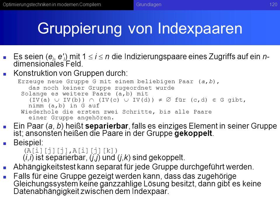 Gruppierung von Indexpaaren