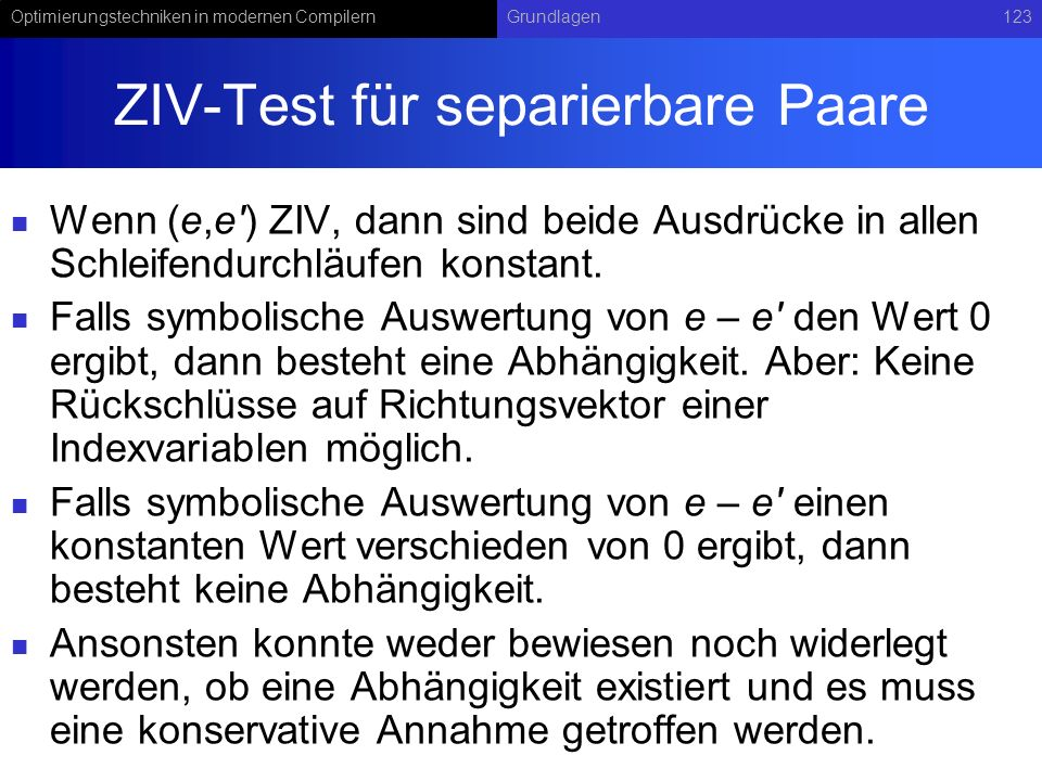ZIV-Test für separierbare Paare