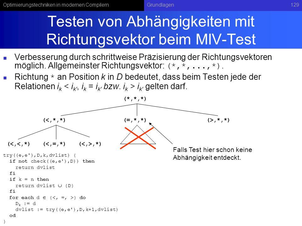 Testen von Abhängigkeiten mit Richtungsvektor beim MIV-Test