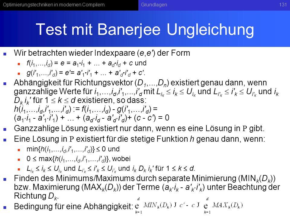 Test mit Banerjee Ungleichung