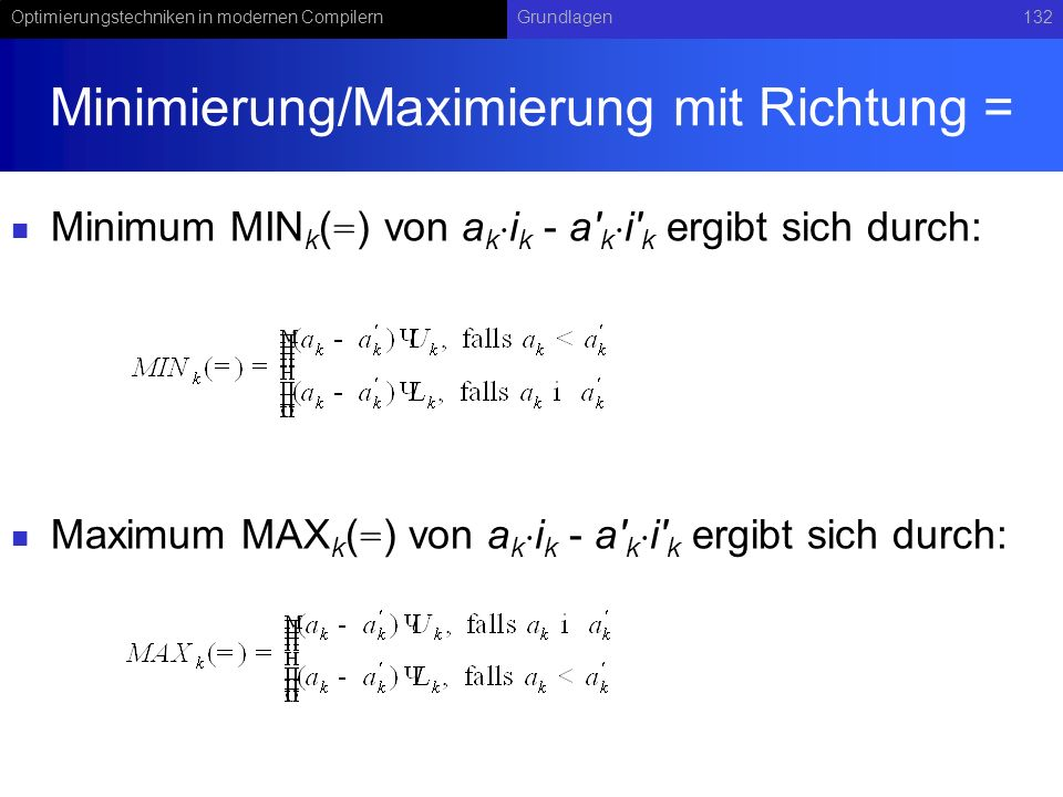 Minimierung/Maximierung mit Richtung =