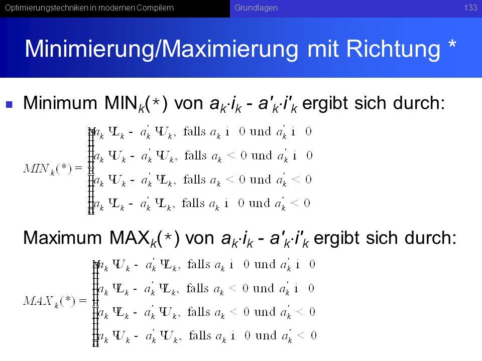 Minimierung/Maximierung mit Richtung *