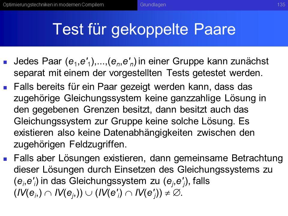 Test für gekoppelte Paare