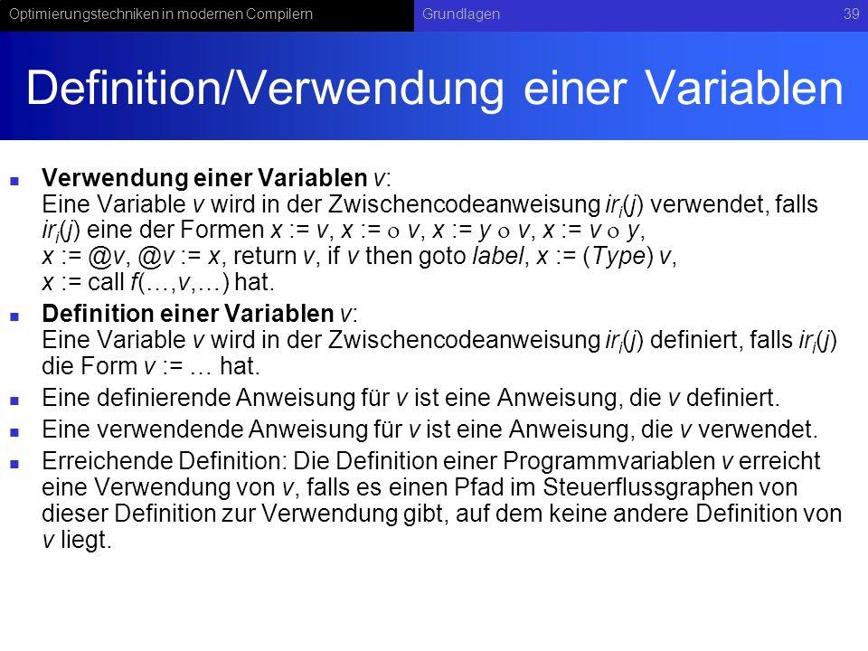 Definition/Verwendung einer Variablen
