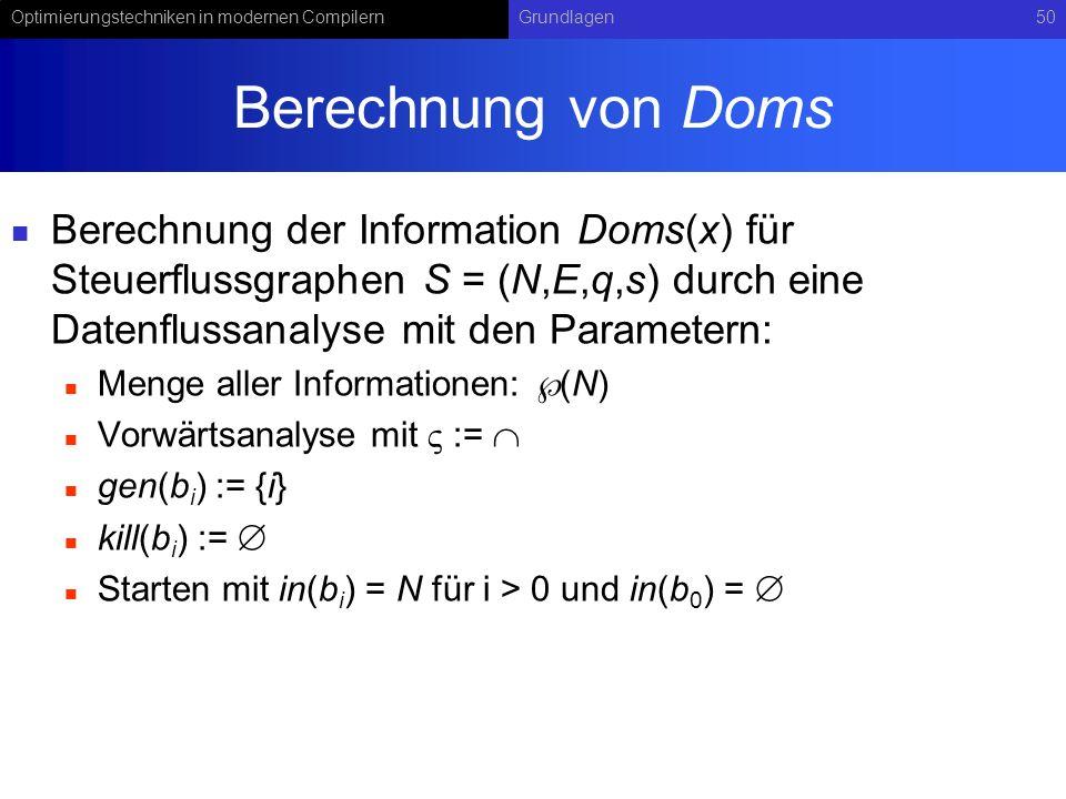 Berechnung von Doms Berechnung der Information Doms(x) für Steuerflussgraphen S = (N,E,q,s) durch eine Datenflussanalyse mit den Parametern: