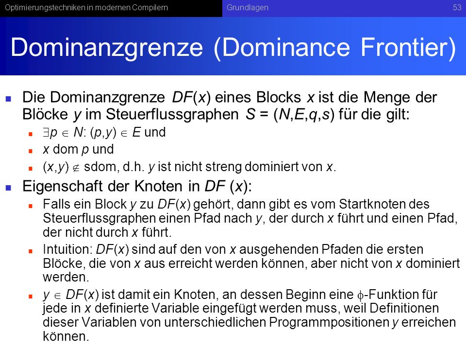Dominanzgrenze (Dominance Frontier)