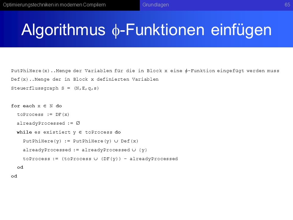 Algorithmus -Funktionen einfügen