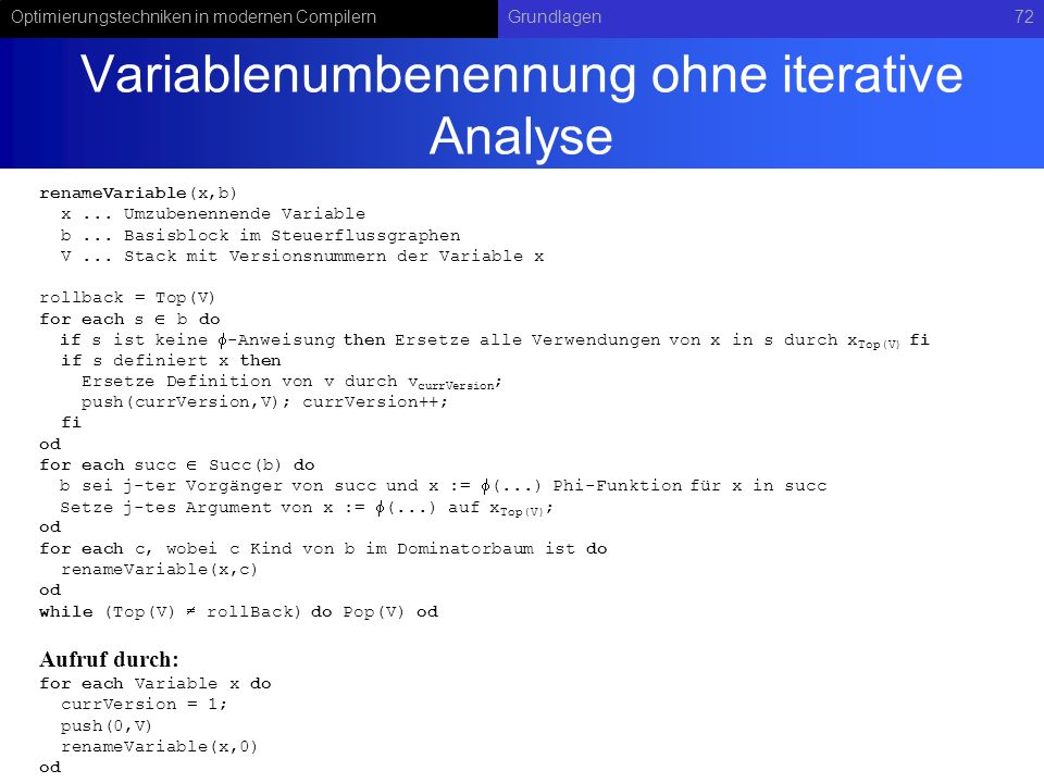 Variablenumbenennung ohne iterative Analyse