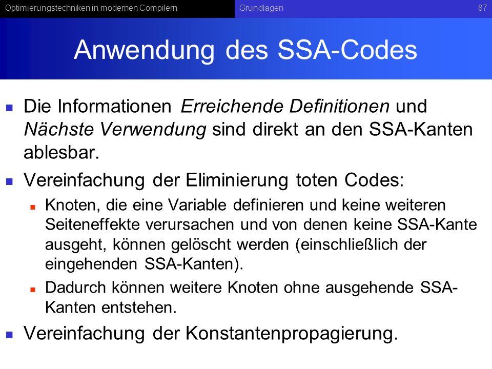 Anwendung des SSA-Codes