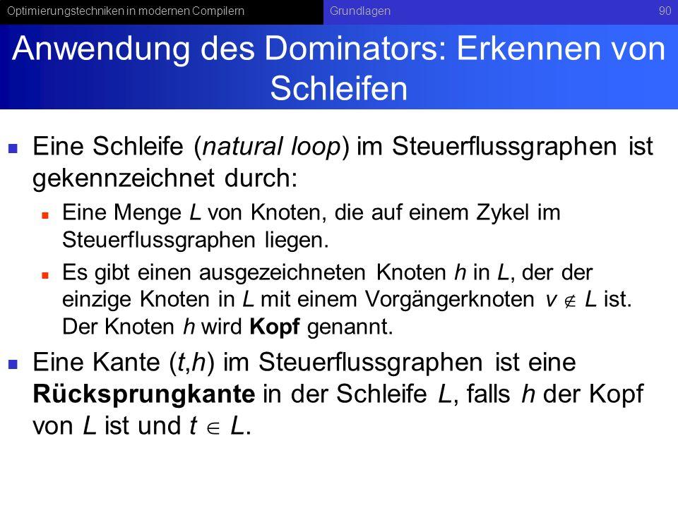 Anwendung des Dominators: Erkennen von Schleifen