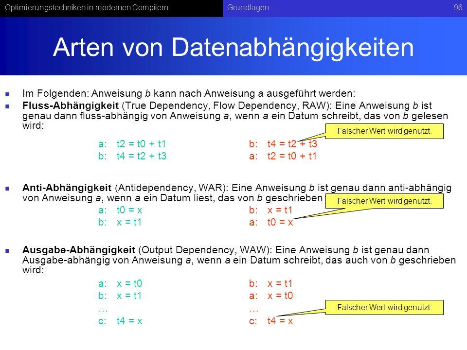 Arten von Datenabhängigkeiten