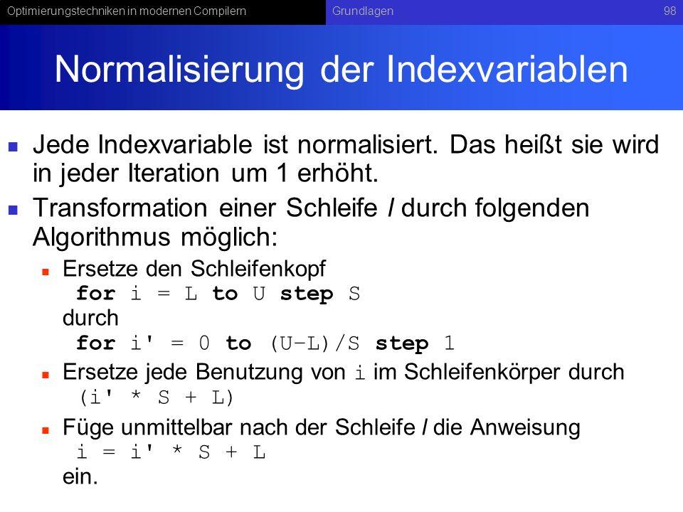 Normalisierung der Indexvariablen