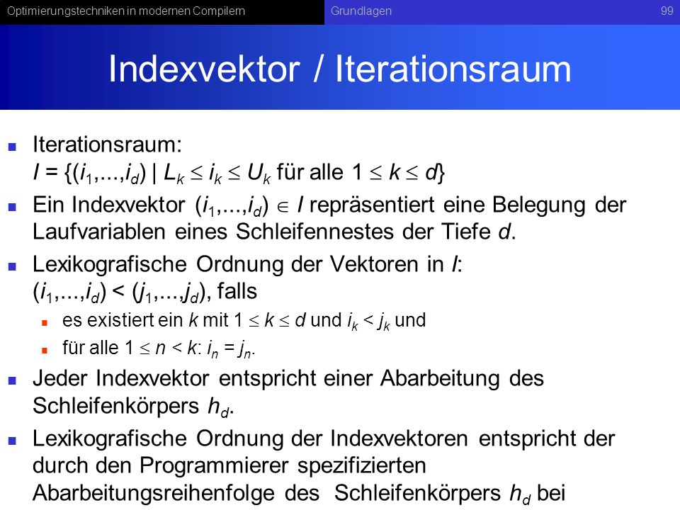 Indexvektor / Iterationsraum