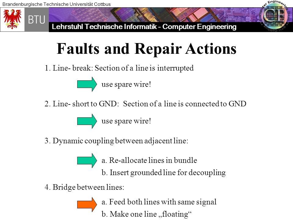 Faults and Repair Actions