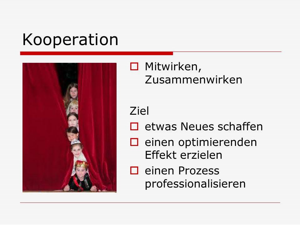 Kooperation Mitwirken, Zusammenwirken Ziel etwas Neues schaffen