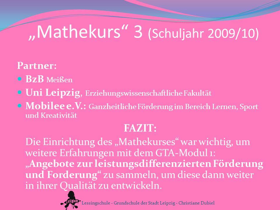"""""""Mathekurs 3 (Schuljahr 2009/10)"""