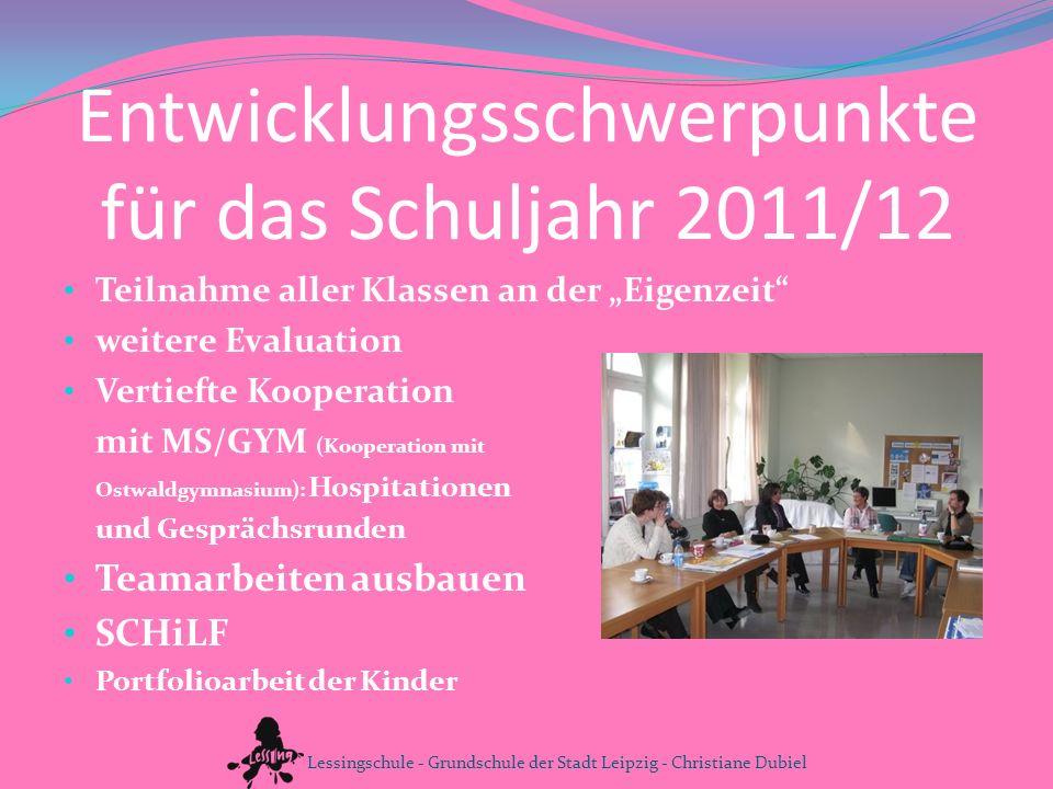 Entwicklungsschwerpunkte für das Schuljahr 2011/12