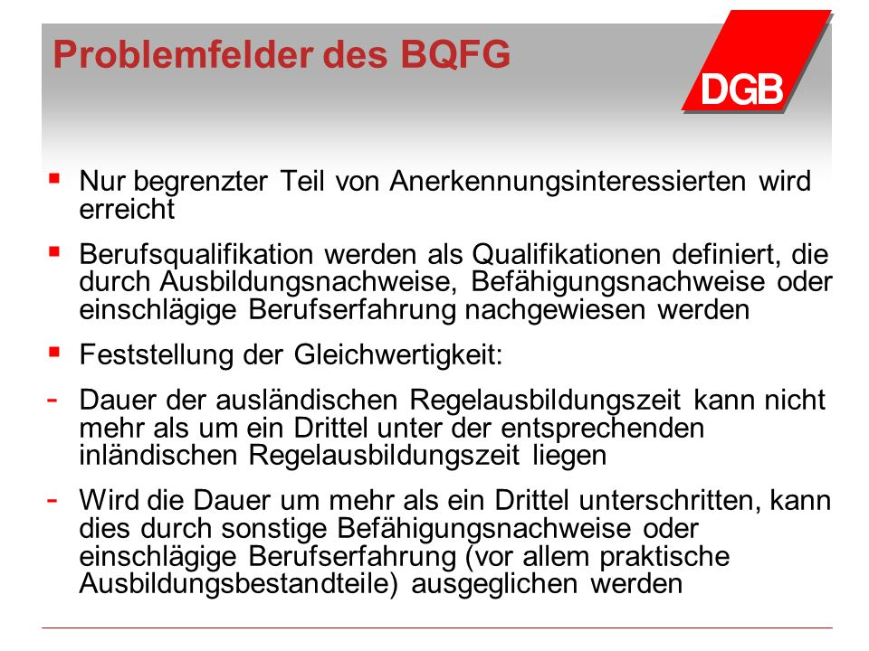 Problemfelder des BQFG