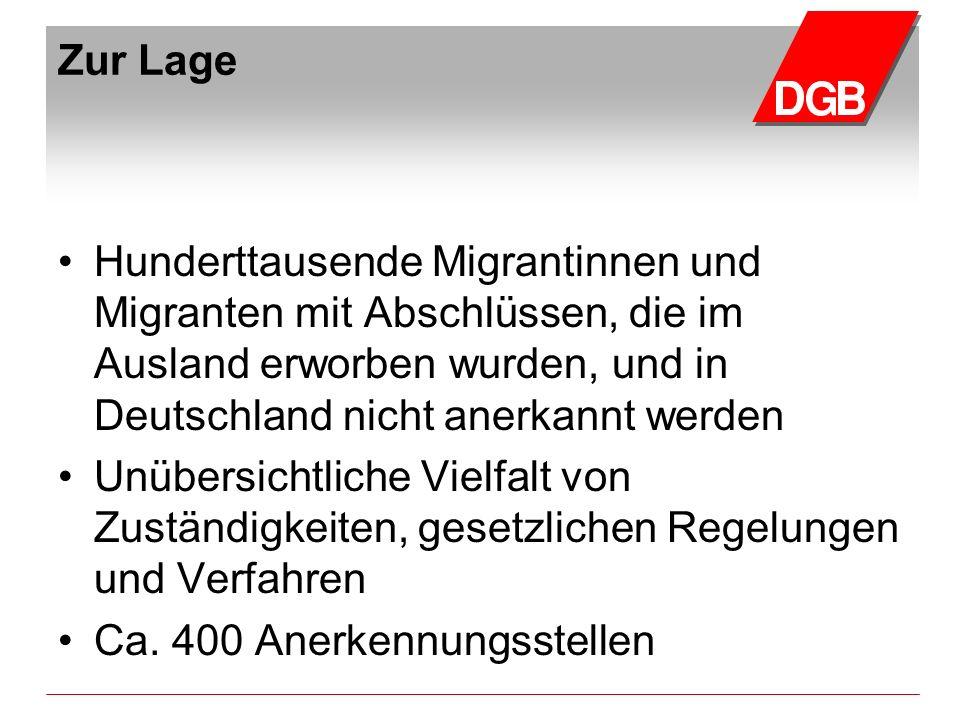 Zur Lage Hunderttausende Migrantinnen und Migranten mit Abschlüssen, die im Ausland erworben wurden, und in Deutschland nicht anerkannt werden.