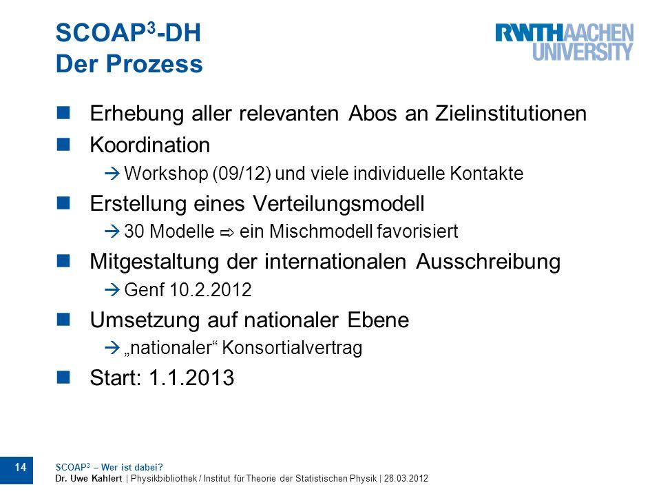 SCOAP3-DH Der Prozess Erhebung aller relevanten Abos an Zielinstitutionen. Koordination. Workshop (09/12) und viele individuelle Kontakte.