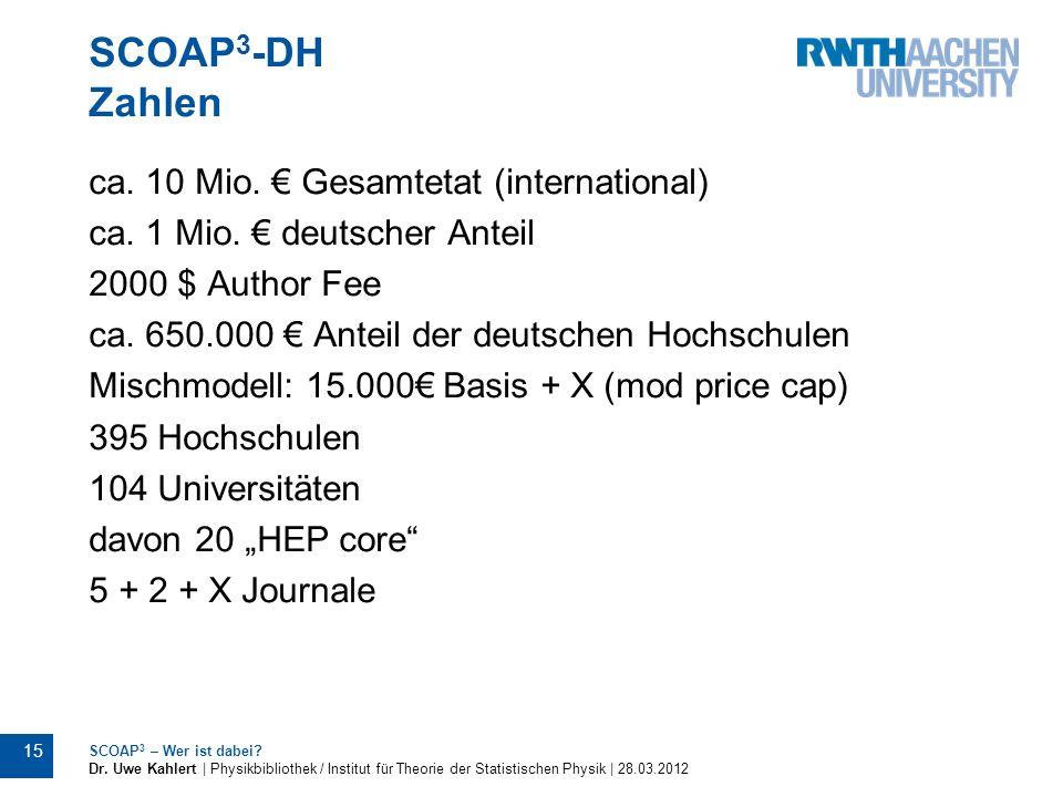 SCOAP3-DH Zahlen ca. 10 Mio. € Gesamtetat (international)
