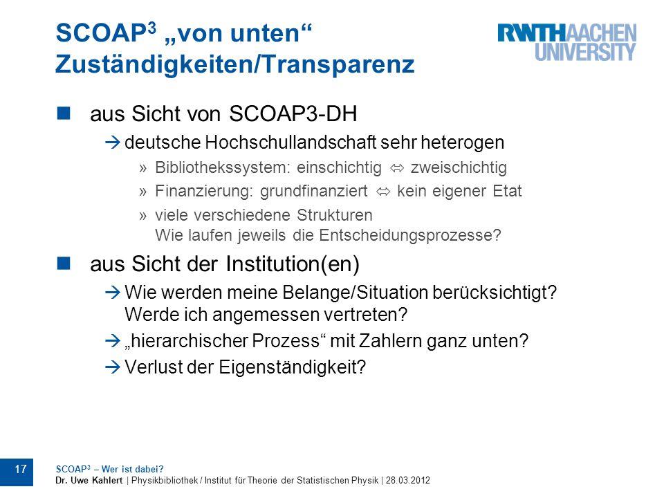 """SCOAP3 """"von unten Zuständigkeiten/Transparenz"""